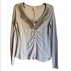 Free People Waffle Greige Thermal